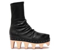 Cutout Stretch-leather Platform Sock Boots Black