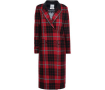Double-breasted Leather-trimmed Checked Wool Coat Red