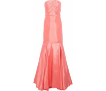 Strapless pleated duchesse-satin gown