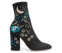 Printed suede ankle boots
