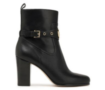 Woman Heather Logo-embellished Leather Ankle Boots Black
