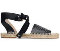Studded leather espadrille sandals