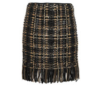 Woman Leather-trimmed Embellished Wool And Silk-blend Mini Skirt Black