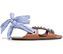 Studded Leather And Striped Woven Sandals Brown