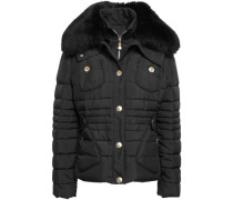 Shearling-trimmed Quilted Shell Down Jacket Black