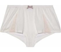 Corded lace-trimmed stretch-jersey pajama shorts