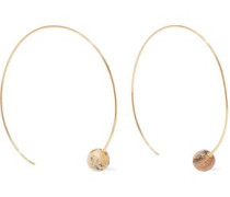 18-karat Gold-plated Sterling Silver Onyx Hoop Earrings Gold Size --