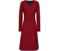 Pleated Twill Dress Brick