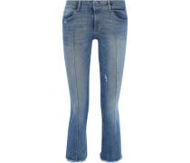 Lara Distressed Mid-rise Kick-flare Jeans Mid Denim  4