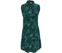 Felix Printed Silk Crepe De Chine Mini Shirt Dress Forest Green