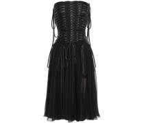 Strapless Lace-up Silk-chiffon And Tulle Midi Dress Black