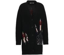 Embellished Ribbed Wool And Cashmere-blend Cardigan Black