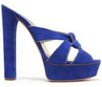 Knotted suede platform sandals