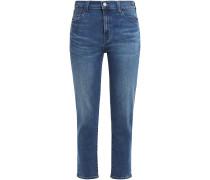 Woman Cropped High-rise Slim-leg Jeans Blue