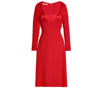 Paneled Duchesse-satin, Cady And Crepe Dress Red