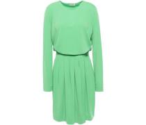 Wrap-effect Pleated Crepe Mini Dress Green