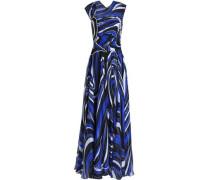 Embellished printed silk-chiffon gown