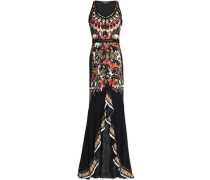 Ruffled printed stretch-jersey gown