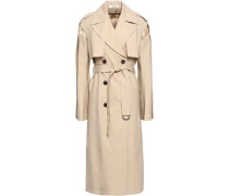 Quilted Satin-paneled Wool-blend Trench Coat Beige