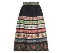 Cotton-blend poplin midi skirt