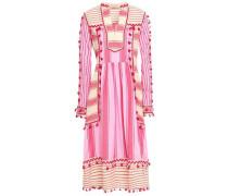 Stephanie Embroidered Striped Cotton-gauze Midi Dress Pink