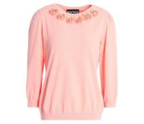 Crystal-embellished floral-appliquéd knitted sweater