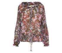 Ruffle-trimmed floral-print crepe de chine blouse