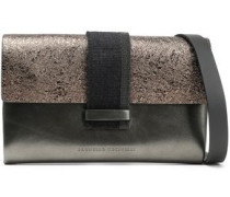 Bead-embellished metallic smooth and cracked-leather shoulder bag