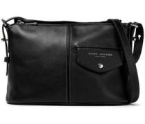 Printed Textured-leather Shoulder Bag Black Size --