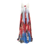 Floral-print Silk-chiffon Plissé Gown Multicolor