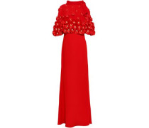 Cape-effect Floral-appliquéd Organza And Stretch-crepe Gown Red