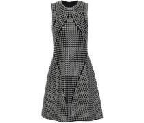 Eyelet-embellished Knitted Mini Dress Black