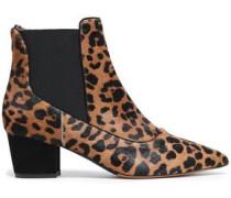 Leopard-print Calf Hair Ankle Boots Animal Print