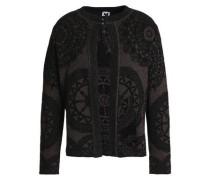 Metallic Jacquard-knit Jacket Burgundy
