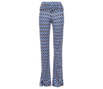 Belted Argyle Jersey Straight-leg Pants Blue