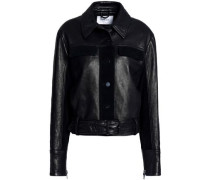 Suede-trimmed leather jacket