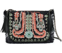 Maliah Embellished Jute Shoulder Bag Black Size --