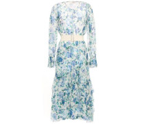 Woman Belted Tiered Floral-print Silk-crepon Midi Dress Light Blue