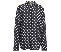 Polka-dot Crepe Shirt Black