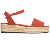 Ana scalloped suede espadrille platform sandals