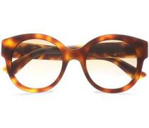 Round-frame Embellished  Tortoiseshell Acetate Sunglasses Animal Print Size --