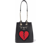 Broken Heart Feline appliquéd leather bucket bag
