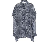 Polka-dot Silk-georgette Shirt Midnight Blue