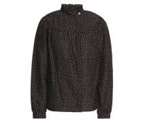 Gathered polka-dot cotton and silk-blend shirt