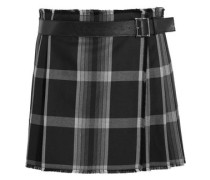 Pleated checked silk and wool-blend wrap mini skirt