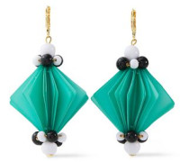 Woman Gold-tone, Resin And Bead Earrings Turquoise