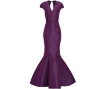 Open-back Fluted Silk Duchesse-satin Gown Purple