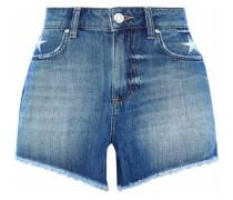 Frayed embroidered denim shorts