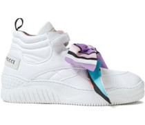 Woman Printed Bow-embellished Logo-appliquéd Quilted-leather Sneakers White