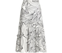 Gathered Printed Linen Midi Skirt White